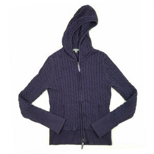 Ann Taylor Hooded Cable Knit Zipper Sweater